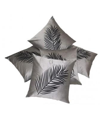 Big Leaf Emboidery Silver N Black Cushion covers Set Of 5 (40X40 cms)