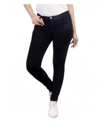 Ansh Fashion Wear Womens Regular Fit Denim Strechable Round Pocket Clean Look Black Color Jeans
