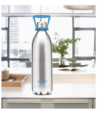 Milton Duo DLX 1750 Thermosteel 24 Hours Hot and Cold Water Bottle with Handle, 1.57 Litre, Silver