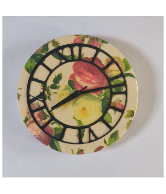 Handcrafted Decoupage English Floral Print Wooden Wall Clock (8inch) - English Rose by The Gift Attic