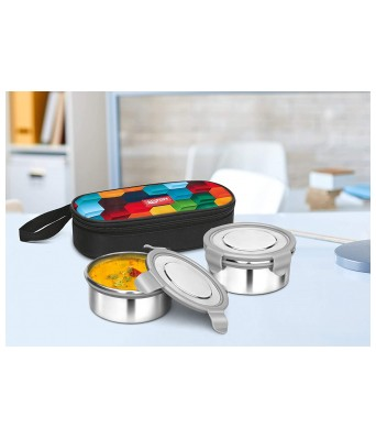 Milton Fresh Meal Click Stainless Steel Lunch Box Set of 2, 320 ml, Rainbow