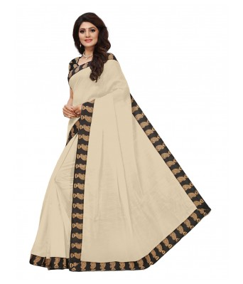 VIBHAA White Chanderi Saree