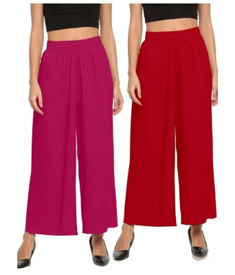 The Moon Red And Pink Stlyist Woman Palazzo 2 Piece Combo
