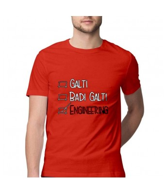 Hyper Take Mens GALTI BADI GALTI ENGINEERING Round Neck Red Color