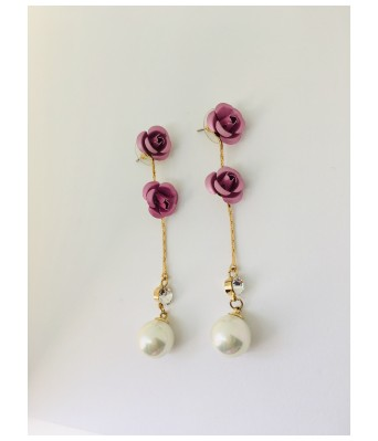 The Square One by Aditi Gautam Besim Lite Lavender Alloy & Water Pearls & AD Earrings for Women & Girls