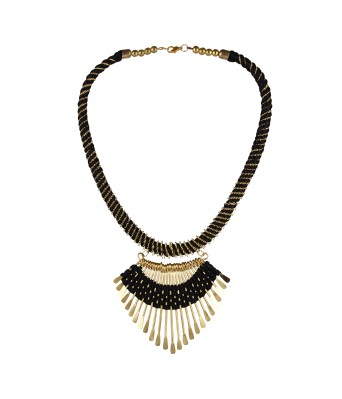 Aradhya Black Thread and Metal Designer Tibetan Style Necklace for Women and Girls