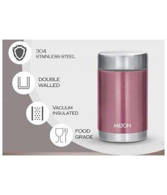 Milton Cruet 550 Thermosteel Hot and Cold Soup Flask, 515 ml, Pink