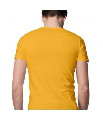 Hyper Take Mens Haan Mai Bhi Chowkidaar Hoon Round Neck Golden Yellow Color