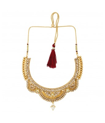Aradhya Big Girls Gold Plated Copper Traditional Designer Temple Coin Necklace With Earrings