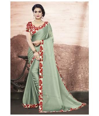Triveni Light Green Chanderi Silk  Casual Wear Solid Saree with Blouse Piece