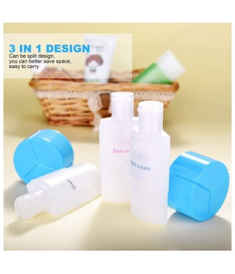PREM ZONE Travel 3 in 1 Refillable Shampoo Cream Lotion Storage Container Bottle, Sky Blue
