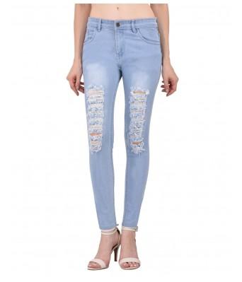 Ansh Fashion Light Blue Color Wash Patterned Womens Denim Jeans