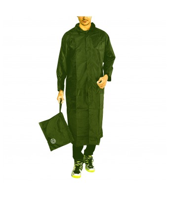 FOBHIYA Polyester Waterproof Raincoat Super Soft Durable Long Rain Jacket for Men with Adjustable Hood in Olive Green