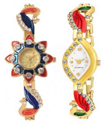 HRV Red SunFlower and AKX Peacock White Girls and women Watch pack of 2