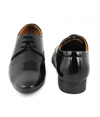 FIRSTCLUB Men's Black Formal Patent Leather Party Wear Shoes