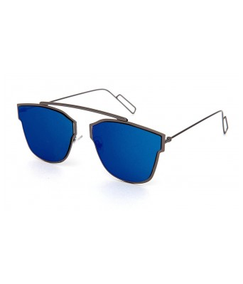 UV Protected Blue Mirrored Lens Retro Aviator Unisex Sunglasses