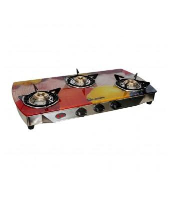 Quba S3 Yellow Jasmine Arc Digital Premium Glass 3 Burner Auto Ignition Gas Stove