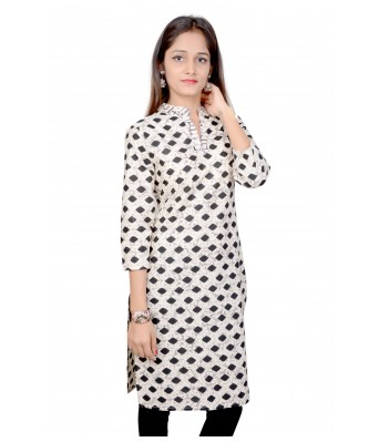 V Brown White Color Black Stoned Color Designer Womens Cotton Straight Printed 3/4 Sleeve Womens Kurti