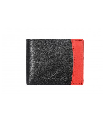 Lisova Black & Red  Solid Genuine Leather Two Fold Wallet