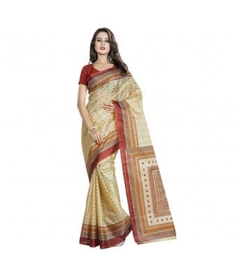 Triveni Beige Art Silk Printed Casual Wear Sarees