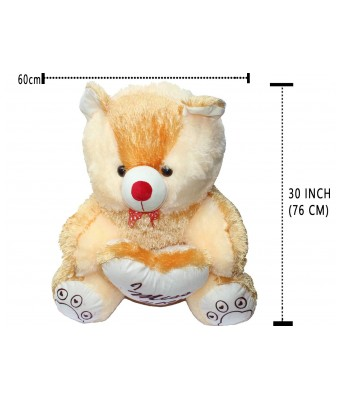 Furfun Toys Teddy Bear 2.5 FEET White Color 176 cm Height for Girlfriend and Girls I Miss You Printed
