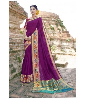 Triveni Art Silk Purple Saree