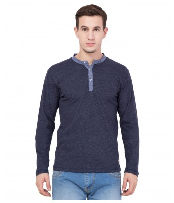 American-Elm Men's Henley Neck Blue Slim Fit Full Sleeve T-Shirt