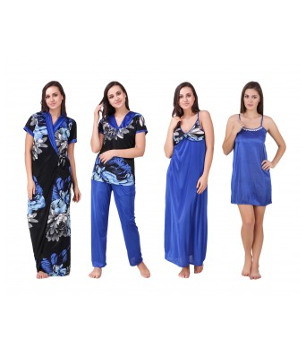 Ansh Fashion Wear Womens Nightwear Set Satin Fabric Blue & Black Color 1 Full Length Gown 1 Rob 1 Night Suit 1 Short Nighty Pack of 4