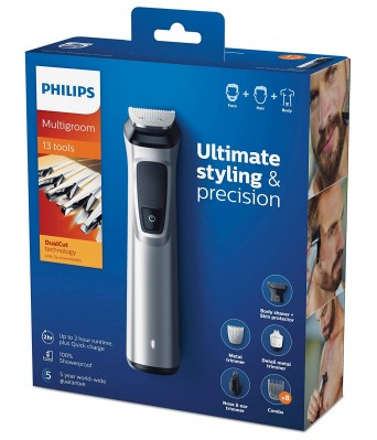 Philips MG7715 15 13-in -1 FaceHair and Body Multigroomer Trimmer (Gray)