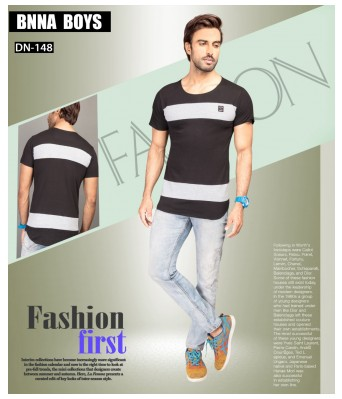 Ansh Fashion Wear Stylish Round Neck Striped Half Sleeves Black Color T-Shirt for Mens & Boys