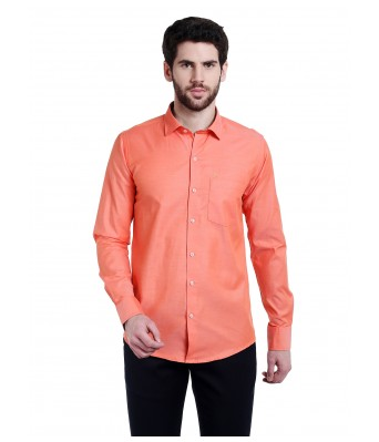 Lisova Orange Solid Slim Fit Casual Shirt