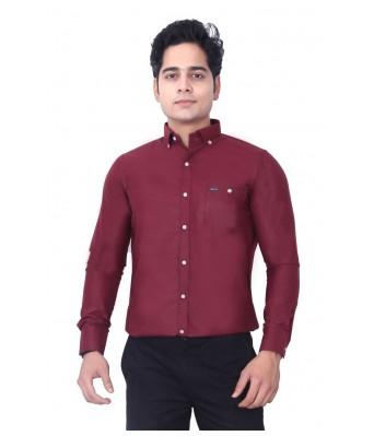 Lisova Men Slim Fit Formal Shirt Maroon Color