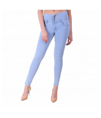 Ansh Fashion Wear Womens Regular Fit Denim Strechable Round Pocket Four Button Light Blue Jeans