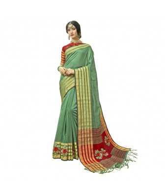 Triveni Rama Green Cotton Silk Festival Wear Woven With Blouses  Sarees