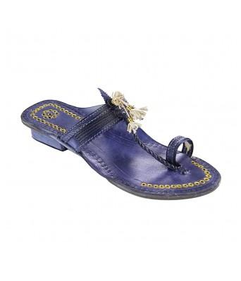 Handsome designer?s high heel dark blue fine braids golden rivets ladies kolhapuri chappal