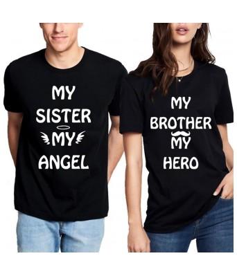 Brother & Sister Angel Hero Black Color Roundneck iLyk Unisex Raksha Bandhan Special T-shirts