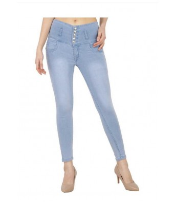 Veravibe High Waist Five Button Curvy Fit Ice Blue Denim Jeans