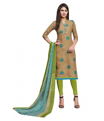 Chikoo Party Cotton Jacquard Unstitched Dress Material With Dupatta