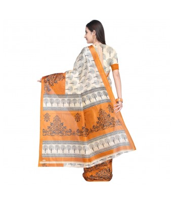 Cream & Mustard Color Printed Saree Without Blouse