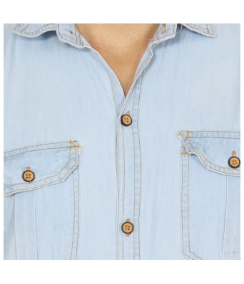 Vero Sky Blue Denim Shirts