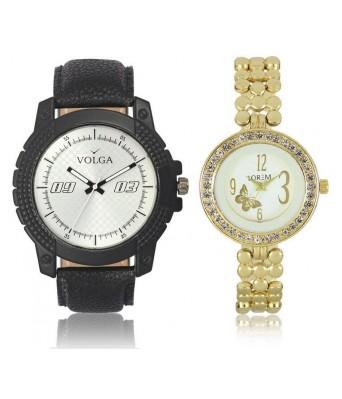 URANUS VL38LR0203  New Branded Black-Gold Color Analog Combo Watch