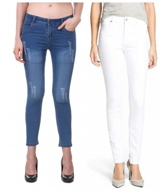 Ansh Fashion Wear Blue & White Color Present Women Strechable Denim Jeans Regular Fit Pack of 2