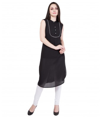 American-Elm Women's Black Sleeveless Kurti