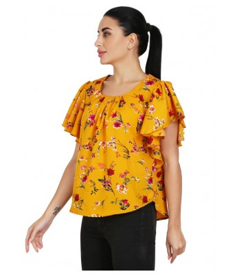 Shanvi Yellow Pink Flower Printed Womens Top