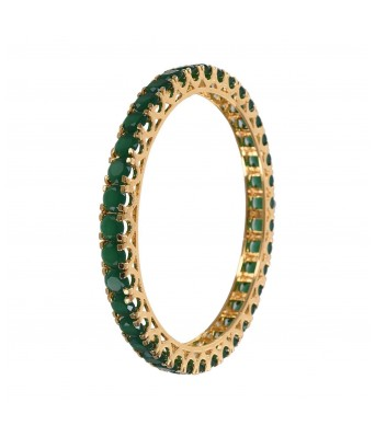 Jewelogram Exclusive Gold Plated Traditional Green Emerald Round Shaped Bangles Set Of 4 for Girls Women