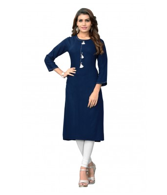 Navy Blue Plain & Hand Work Rayon Full Stitched Kurtis - RK Fashions