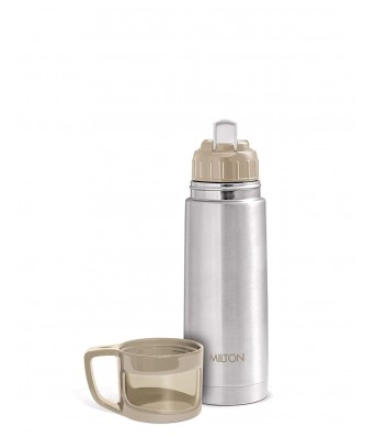Milton Glassy 350 Thermosteel 24 Hours Hot and Cold Water Bottle with Drinking Cup Lid, 350 ml, Grey