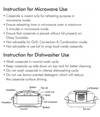 Milton Microwow One Touch 1500 Insulated Inner Steel Casserole, 1340 ml, Blue
