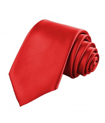 Mens Tie Classic Satin Slim Necktie | Casual Style Fashion | Party wear | Red Color Tie - By Billebon