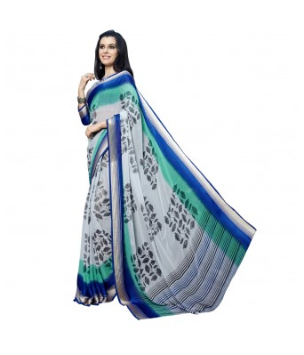 Triveni Grey Faux Georgette Everyday Wear Printed Sarees
